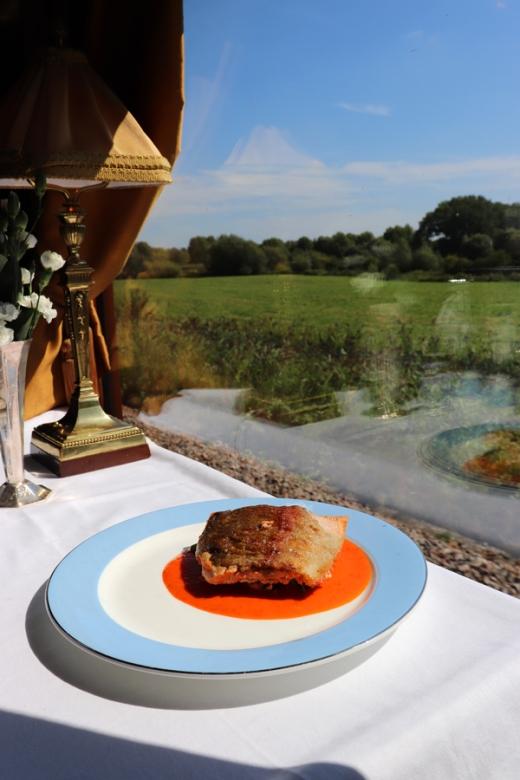 Belmond British Pullman Murder Mystery Lunch Seared Sea Trout © Lavender's Blue Stuart Blakley
